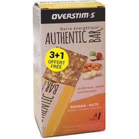 OVERSTIM.s Authentic Caja Barritas Energéticas 3+1 x 65g, banana almond